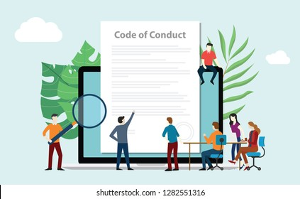 code of conduct team people work together on paper document on laptop screen - vector illustration