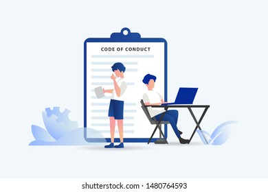 code of conduct team people work together vector illustration concept for web landing page template, banner, flyer and presentation