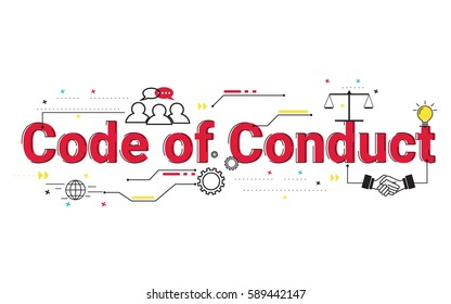 Code of Conduct word vector design, typographic illustration design for banner website, management, business, presentation.