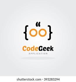 Code Geek Logo Design Template. Software company logo template design.