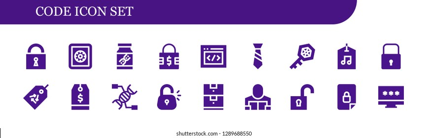 code icon set. 18 filled code icons. Simple modern icons about  - Lock, Safe box, Dna, Padlock, Html, Tie, Key, Label, Tag, Data storage, Reader, Unlock, Locked, Password
