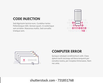 Code injection and Computer error. Cyber security concept. Vector thin line illustration design.