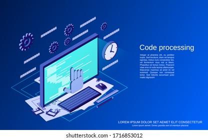 Code processing, program coding, algorithm optimization flat isometric vector concept illustration