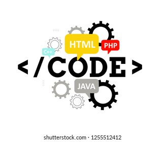 Code. Programming languages: HTML, JAVA, PHP, C++. Concept for web design.