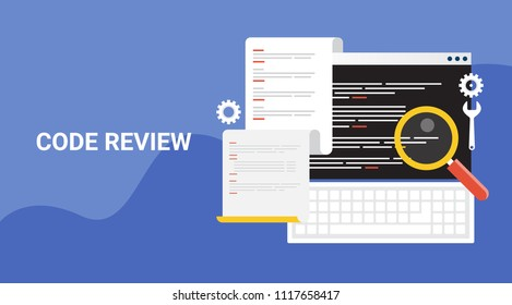 Code review - Code analysis - Programming language - Coding - flat style vector illustration banner