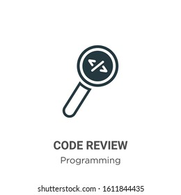 Code review glyph icon vector on white background. Flat vector code review icon symbol sign from modern programming collection for mobile concept and web apps design.
