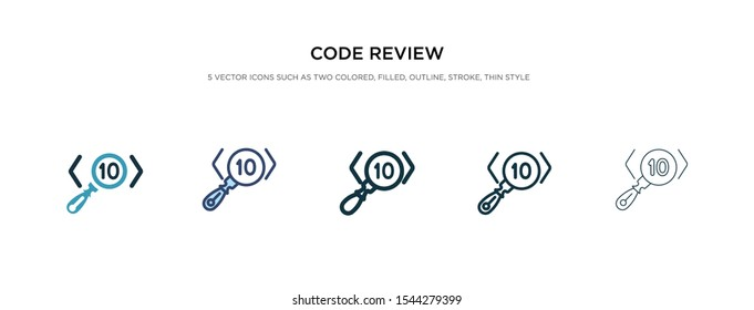 code review icon in different style vector illustration. two colored and black code review vector icons designed in filled, outline, line and stroke style can be used for web, mobile, ui