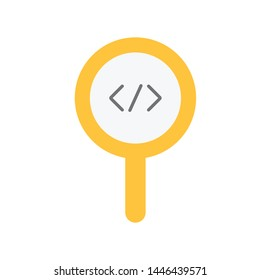 Code review, inspect element concepts. Magnifying glass with code brackets symbol. Modern flat style design. Vector icon