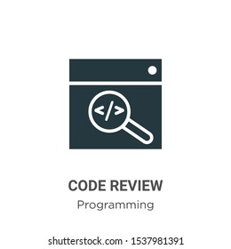 Code review vector icon on white background. Flat vector code review icon symbol sign from modern programming collection for mobile concept and web apps design.