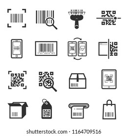 Code scanning icon set. Computer product examination using a scanner, price information. Vector barcode reading illustration on white background