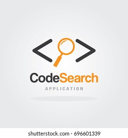 Code Search logo design concept with magnifier icon vector illustration. Logo for mobile application, programming code, consulting, development and software testing.