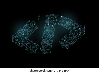 Code symbol in polygonal wireframe style. Concept of software development, code review. Futuristic vector illustration isolated on black background.