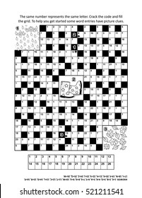 Codebreaker (or codeword, or code cracker) crossword puzzle or word game with 9 autumn themed words . Answer included.