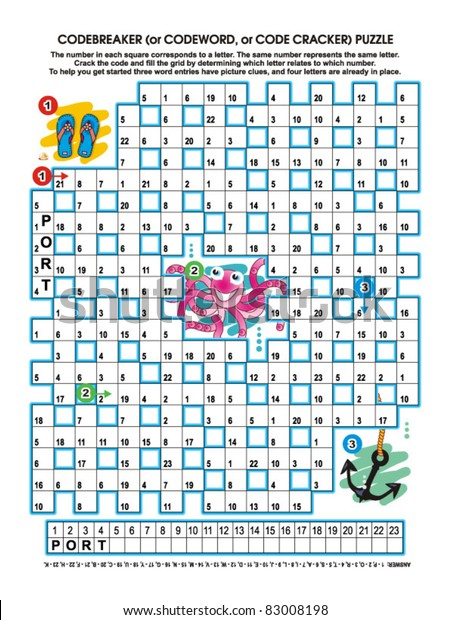 Codebreaker Codeword Code Cracker Word Puzzle Stock Vector