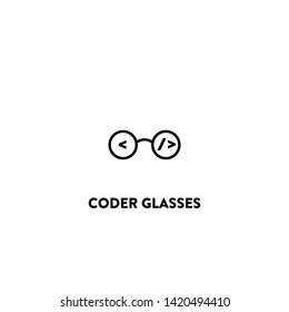 coder glasses icon vector. coder glasses sign on white background. coder glasses icon for web and app