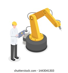 Coder, programmer controlling robotic arm manually. Robotics, cybernetics researcher developing technology isometric vector illustration. Automated, preprogrammed production technology 3d concept