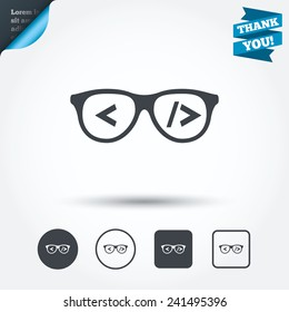 Coder sign icon. Programmer symbol. Glasses icon. Circle and square buttons. Flat design set. Thank you ribbon. Vector