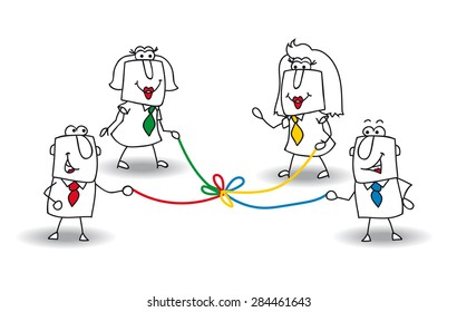 co-development. A group of businessmen and businesswomen hold a colored rope. It is a metaphor of co-development in a team