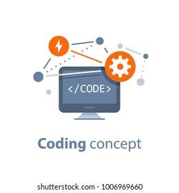 Coding concept, computer technology, system integration, code learning, software development, web interface design, vector flat illustration