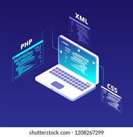Coding concept. Website development and app software programming with laptop and virtual screens. Html5 and php code vector background. Illustration of programming code php, coding development