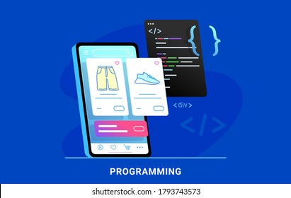Coding e-commerce mobile app for online store. Flat vector illustration of e-commerce website or app programming css script and preview on smartphone screen behind. Application developement process