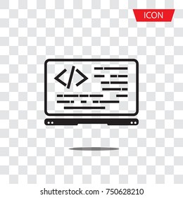 Coding icon vector, coding in computer isolated on transparent background.