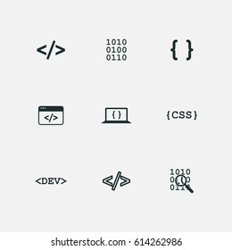 coding icons set vector