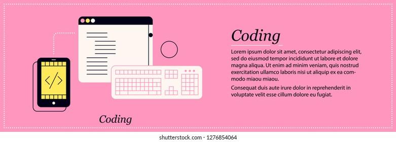 Coding illustration. Elegant flat style on pink background. Programming languages, software development, debugging.