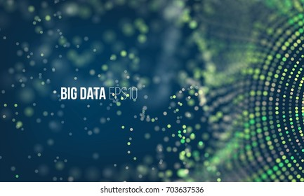 Coding process. Big data stream futuristic infographic. Colorful particle wave with bokeh