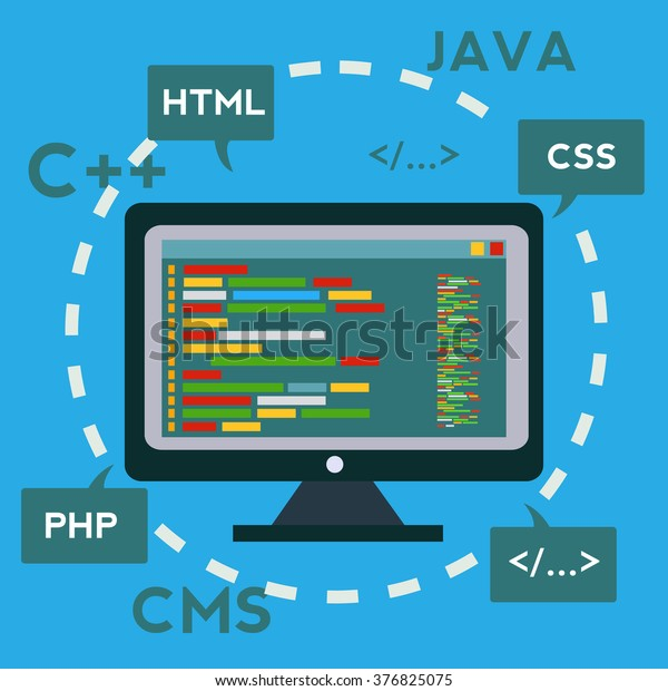 Coding Programming App Development Creation Software Stock Vector