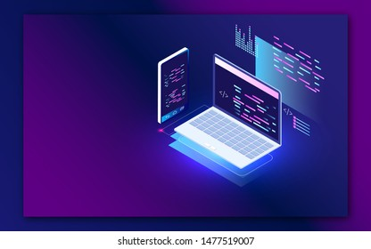 Coding and programming app in laptop and smartphone for Web developer concept based isometric design.