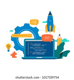 Coding, programming, application development flat vector illustration design