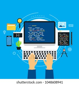 Coding, programming, website and application development. Technology concept for software API prototyping and testing. Design for web banners and apps