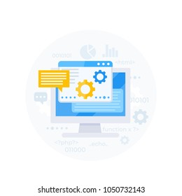 coding, software development, app integration, programming and IT consulting vector illustration