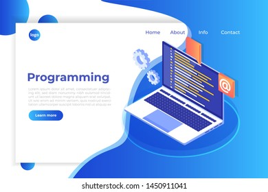 Coding, Software development, programming, program code on screen, big data processing, computing. Landing page templete.