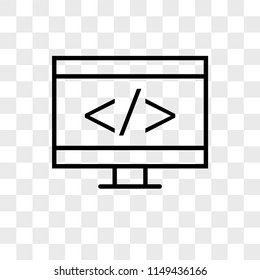 Coding vector icon on transparent background, Coding icon