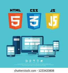 Coding and web technology shields. HTML5, CSS, Javascript. Web site development icons.
