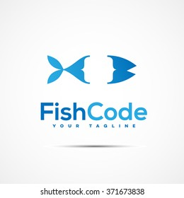 Coding writer company logo template design. Vector illustration.