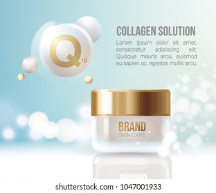 Coenzyme Q10. Collagen Serum and Vitamin Background Concept Skin Care Cosmetic.regeneration cream.Container mockup, cosmetic bottle package,bank.Elegant and stylish Background.Vector illustration