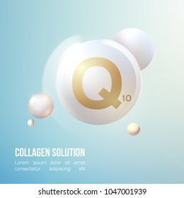 Coenzyme Q10. Collagen Serum and Vitamin Background Concept Skin Care Cosmetic.Elegant and stylish Background.Vector illustration