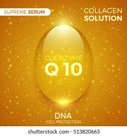 Coenzyme Q10. Collagen solution. Shiny golden drop of supreme serum. Package design cosmetic products. Vector illustration.