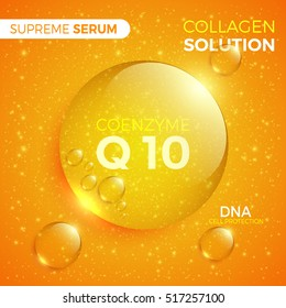 Coenzyme Q10. Collagen solution. Shiny golden round drop of supreme serum. Package design cosmetic products. Vector illustration.