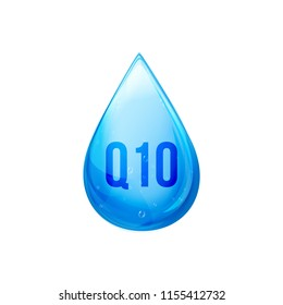 Coenzyme Q10 drop. Golden vector pill icon. Treatment drop capsule. Q10 skin care solution wellness.