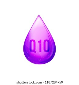 Coenzyme Q10 drop. Golden vector pill icon. Treatment drop capsule. Q10 skin care solution wellness