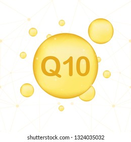 Coenzyme Q10. Gold vector oil icon. Enzyme drop pill capsule. Vector stock illustration.