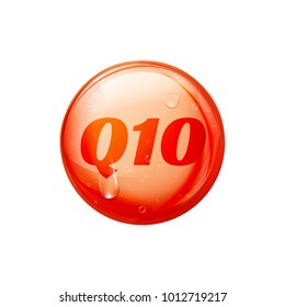 Coenzyme Q10. Golden vector oil icon. Treatment drop pill capsule. Q10 skin care wellness.