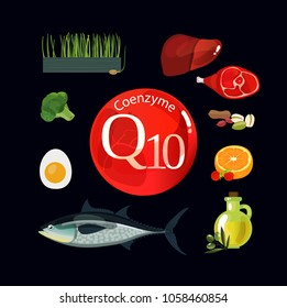 Coenzyme q10. Healthy eating. Natural organic products with a high content of coenzyme q10. Black background