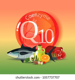 Coenzyme q10. Healthy eating. Normalization of cardiac activity. Natural organic products with a high content of coenzyme q10. Colour