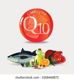 Coenzyme q10. Healthy food. Natural organic products with a high content of coenzyme q10