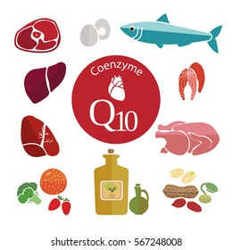 Coenzyme Q10. Healthy heart and cardiovascular system. Healthy lifestyle. Balanced diet. Basics of healthy nutrition
